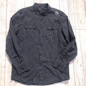 7 Diamonds Striped embroidered Button Front shirt